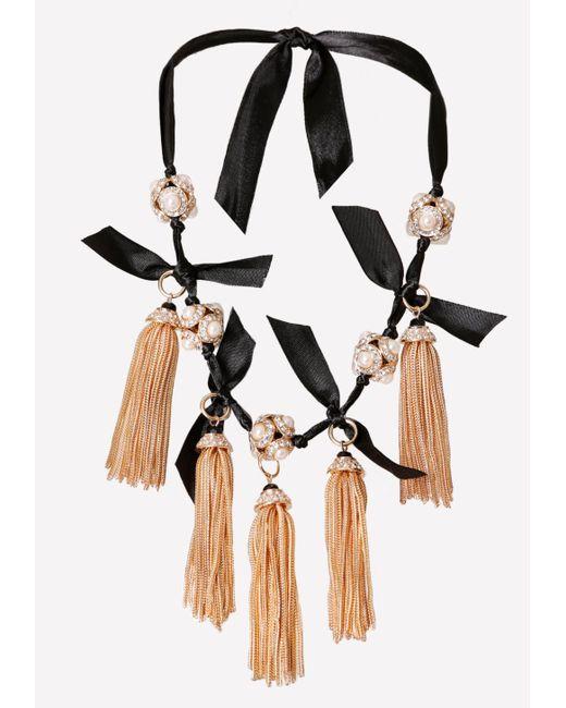 Bebe | Black Tassel Ribbon Necklace | Lyst