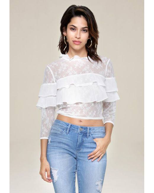 Bebe | White Lace Block Ruffled Top | Lyst