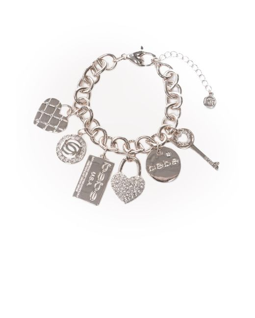 Bebe | Metallic Logo Charm Bracelet | Lyst
