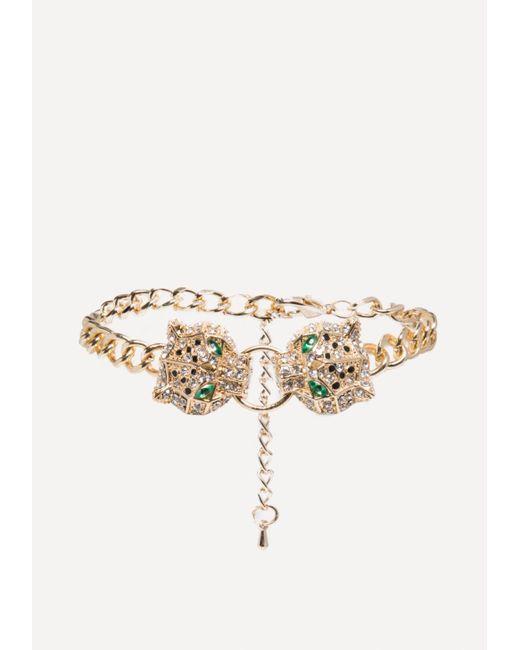 Bebe - Metallic Leopard Chain Bracelet - Lyst