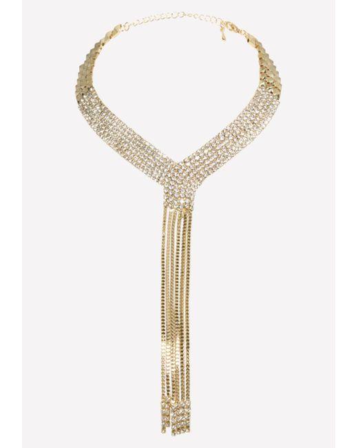 Bebe - Metallic Gold & Crystal Necklace - Lyst