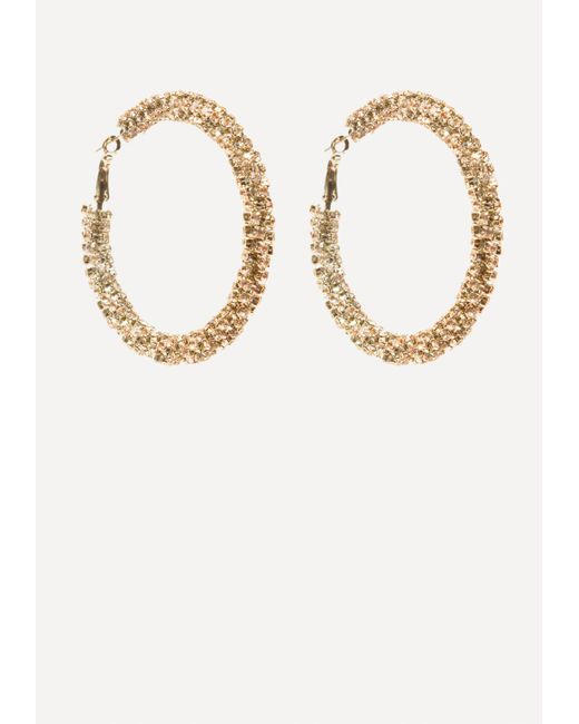 Bebe | Metallic Crystal Twist Hoop Earrings | Lyst