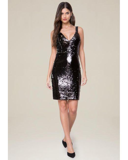 Bebe | Black Danny Sequin Dress | Lyst