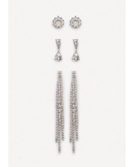 Bebe - Metallic Crystal Earring Set - Lyst
