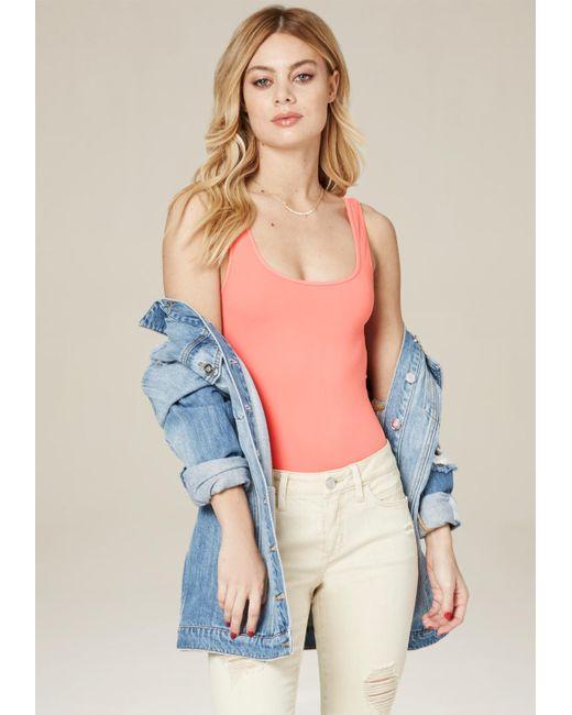Bebe | Pink Scoopneck Bodysuit | Lyst