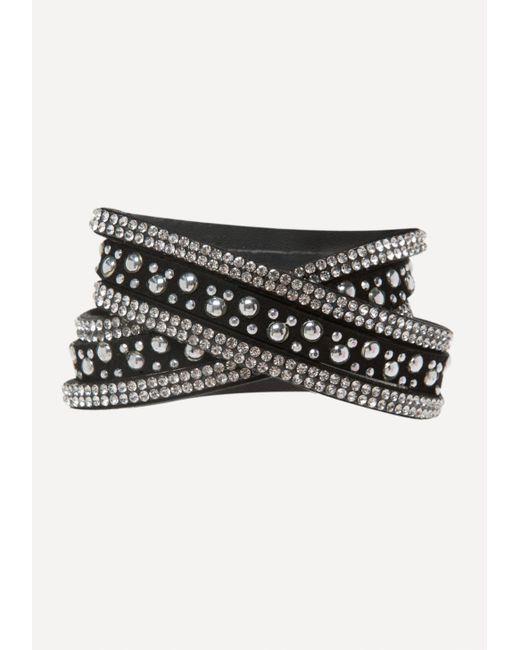 Bebe | Black Crystal Stud Wrap Bracelet | Lyst