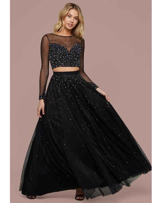 Bebe - Black Embellished 2-piece Gown - Lyst