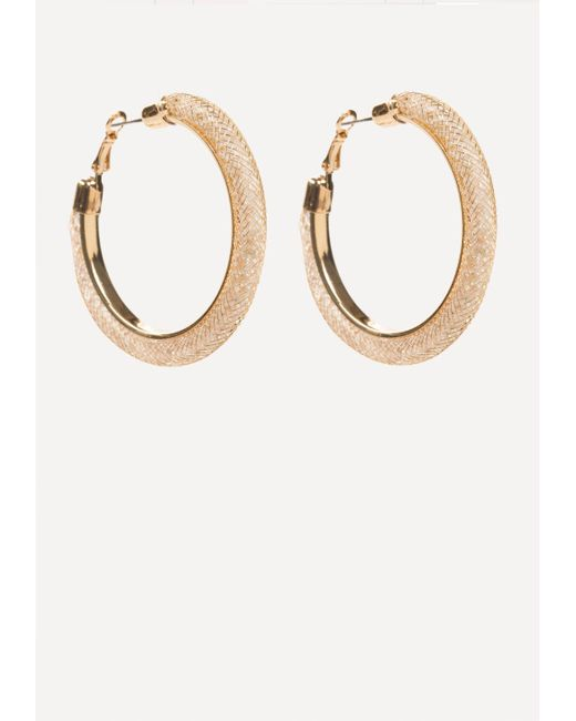 Bebe | Metallic Crystal Wide Hoop Earrings | Lyst