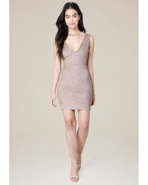 Bebe | Multicolor Faux Suede V-neck Dress | Lyst