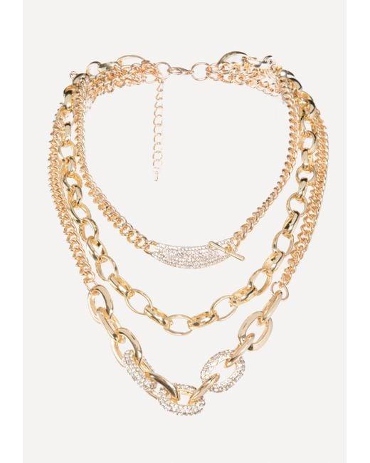 Bebe - Metallic Triple Chainlink Necklace - Lyst