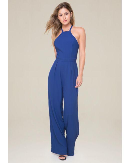Bebe | Blue Wide Leg Jumpsuit | Lyst