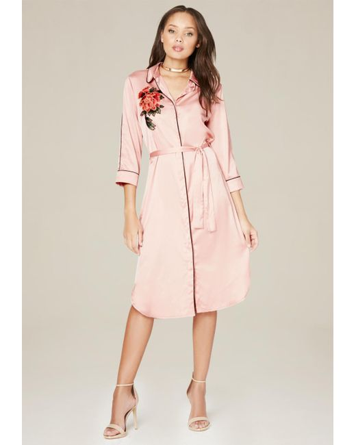 Bebe | Pink Embroidered Satin Dress | Lyst