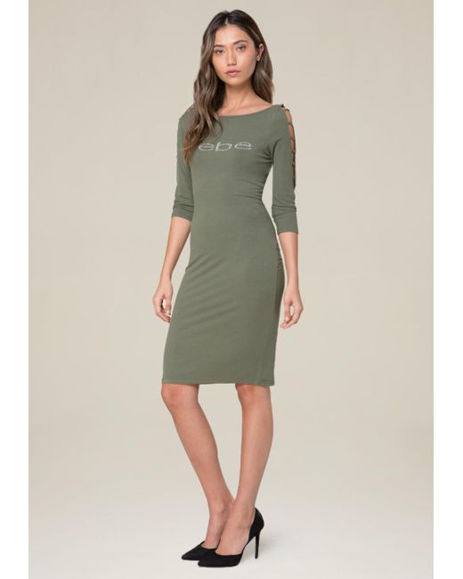 Bebe - Green Logo Boatneck Dress - Lyst