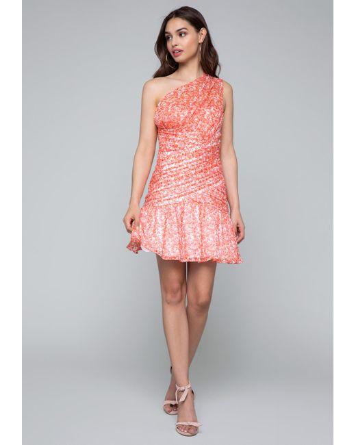 Bebe - Pink One Shoulder Dress - Lyst