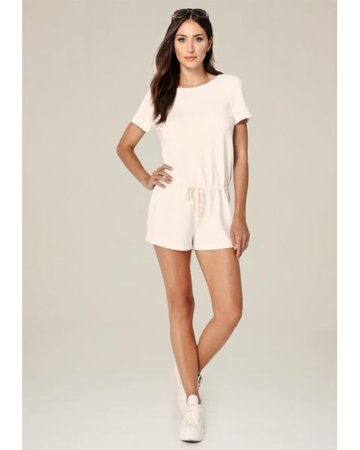 Bebe | White Open Back Drawstring Romper | Lyst