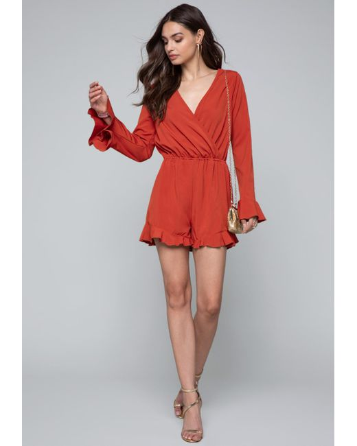 Bebe - Red Ruffle Sleeve Romper - Lyst