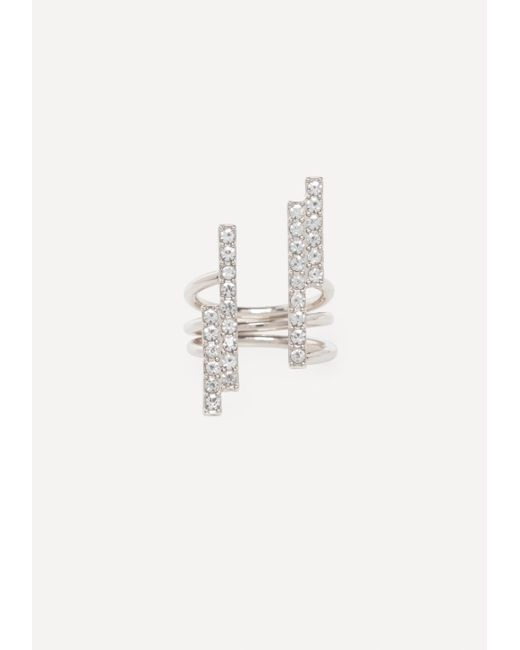 Bebe - Metallic Crystal Bars Ring - Lyst