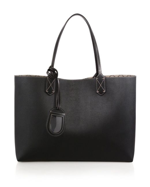 Gucci | Black Reversible Gg Medium Leather Tote | Lyst