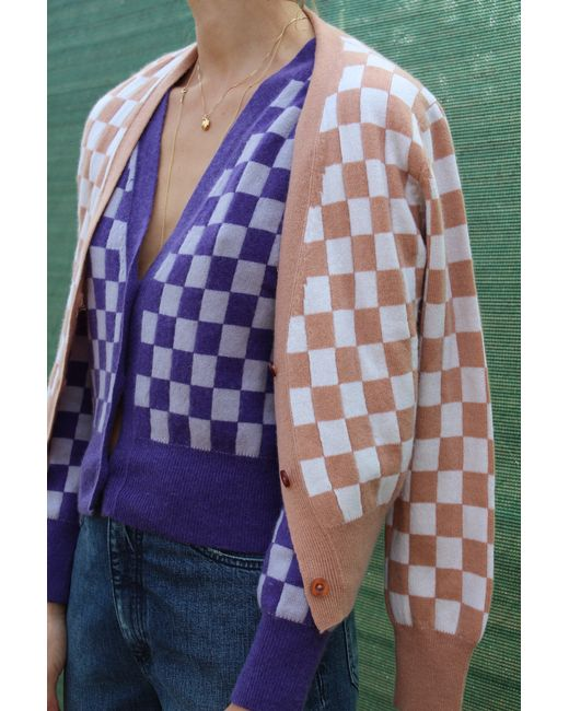 Beklina Cashmere Cardigan Checkerboard Purple/lilac in Purple | Lyst