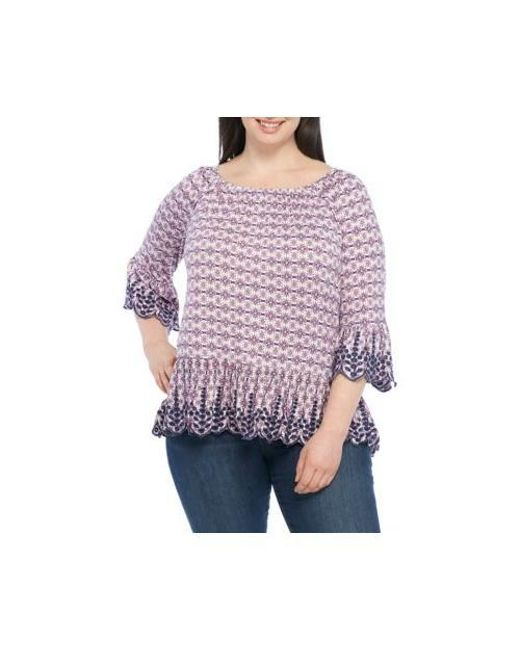 Lyst Fever Plus Size Embroidered Knit Top In Purple