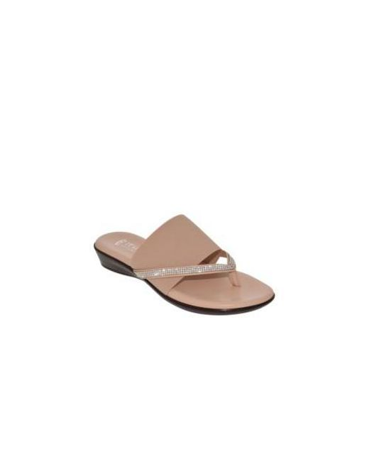 e41c412cbd79 Italian Shoemakers - Multicolor Luxi Bejeweled Flat Stretch Thong Sandals -  Lyst