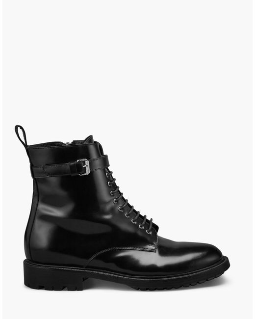 Belstaff | Finley Combat Boot Women's Black High Shine Calf Leather | Lyst