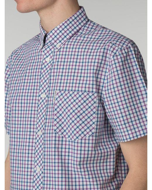 Ben Sherman - Blue Short Sleeve House Check Shirt for Men - Lyst