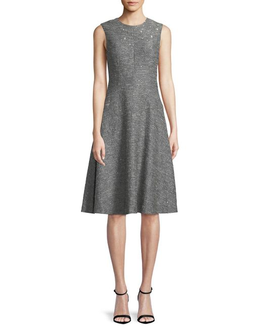 Lela Rose - Gray Sequin Sleeveless Seamed Fit-and-flare Dress - Lyst