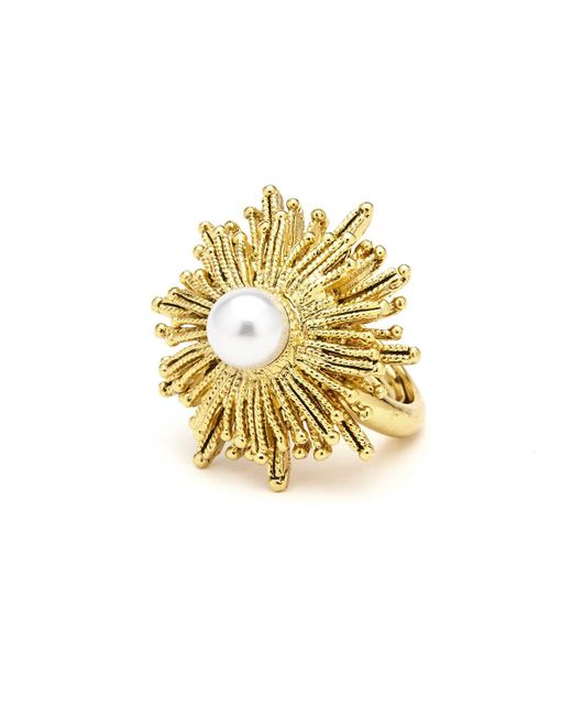 Oscar de la Renta   Metallic Pearly Sun Star Statement Ring   Lyst