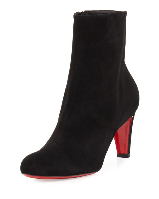 Christian Louboutin | Black Top 70mm Suede Red Sole Bootie | Lyst