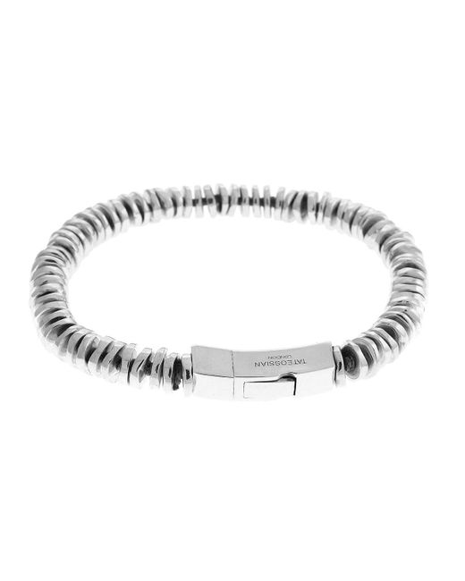 Tateossian - Gray Men's Sterling Silver Disc Bead Bracelet for Men - Lyst