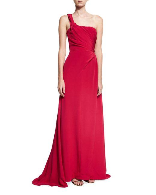 Carolina Herrera | Red One-shoulder Pleated Silk Gown | Lyst