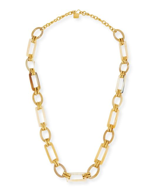 Ashley Pittman - Metallic Light Horn & Bronze Link Necklace - Lyst