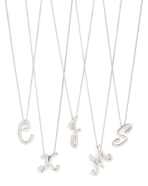 Roberto Coin - Metallic Diamond Initial Necklace - Lyst
