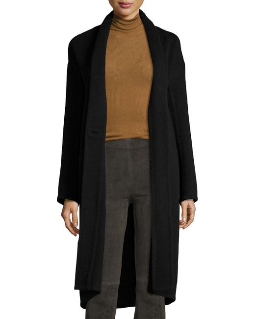 Vince | Black High-collar Crossover-front Wool Top Coat | Lyst