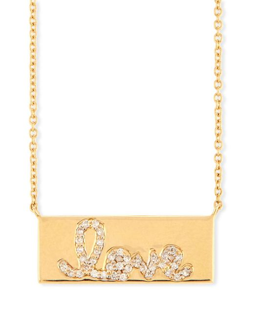 Sydney Evan - Metallic Pavé Diamond Love Bar Necklace - Lyst