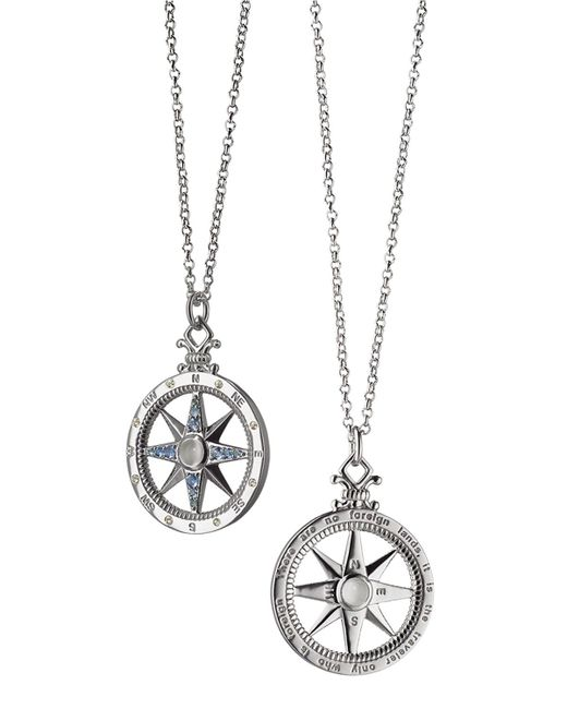 Monica Rich Kosann | Metallic Sterling Silver Compass Necklace With Moonstone & Blue Sapphires | Lyst