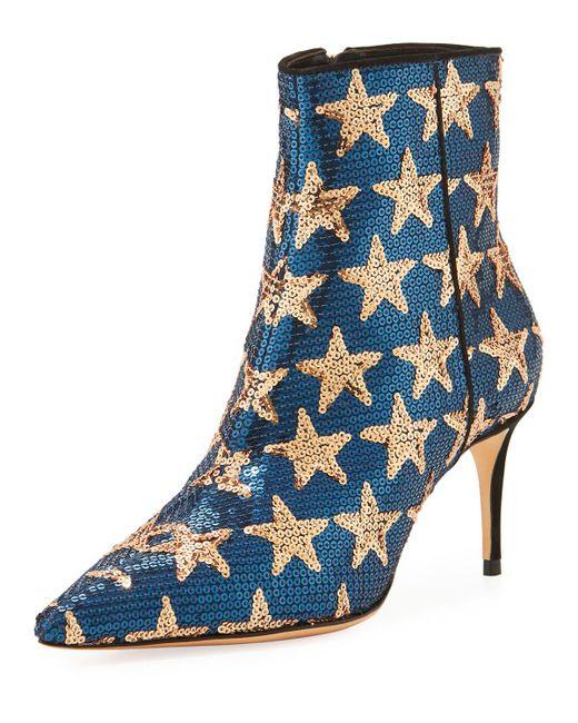 Schutz - Blue Star Sequined Point-toe Boot - Lyst