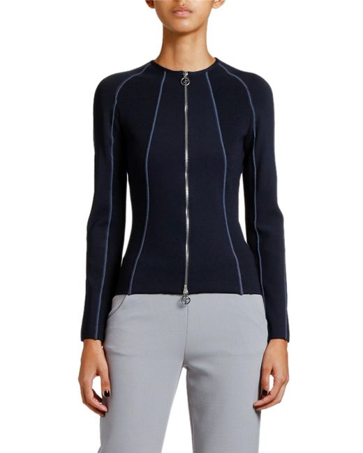 Giorgio Armani Blue Ottoman Ribbed Zip-front Jacket