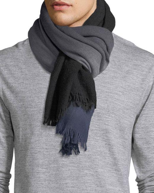 Paul Smith - Black Ombre Herringbone Wool Scarf for Men - Lyst