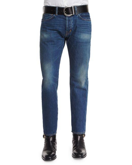 Tom Ford - Blue Regular-fit Vintage Wash Selvedge Denim Jeans for Men - Lyst