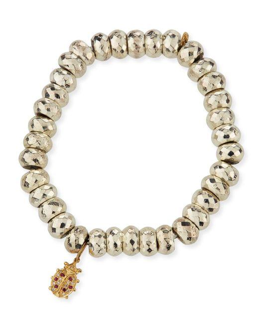 Sydney Evan - Metallic Faceted Pyrite Beaded Bracelet With Ladybug Charm - Lyst