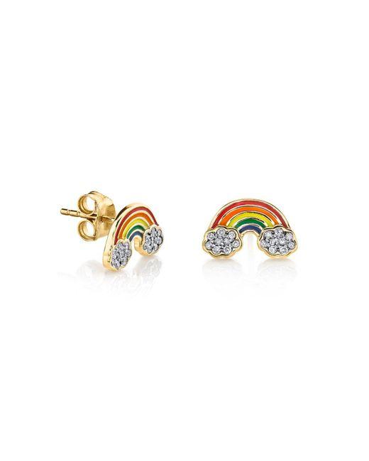 Sydney Evan - Metallic Diamond & Enamel Rainbow Stud Earrings - Lyst