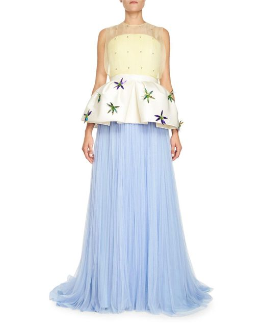 Delpozo | Blue Pleated Tulle Gown | Lyst