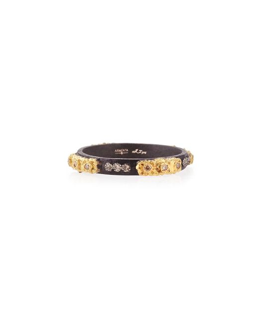 Armenta - Black Stackable Ring With Champagne Diamonds - Lyst