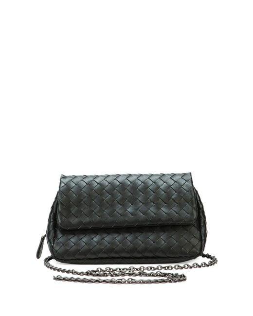 b03b0af8c6 Bottega Veneta - Black Intrecciato Small Chain Crossbody Bag - Lyst ...