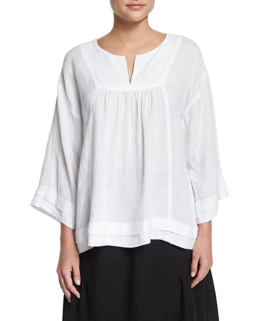 Eskandar - White Artisan-pleated Handkerchief Linen Top - Lyst