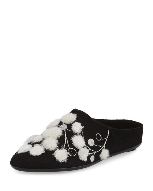 The Row | Black Bea Embroidered Cashmere Mule | Lyst