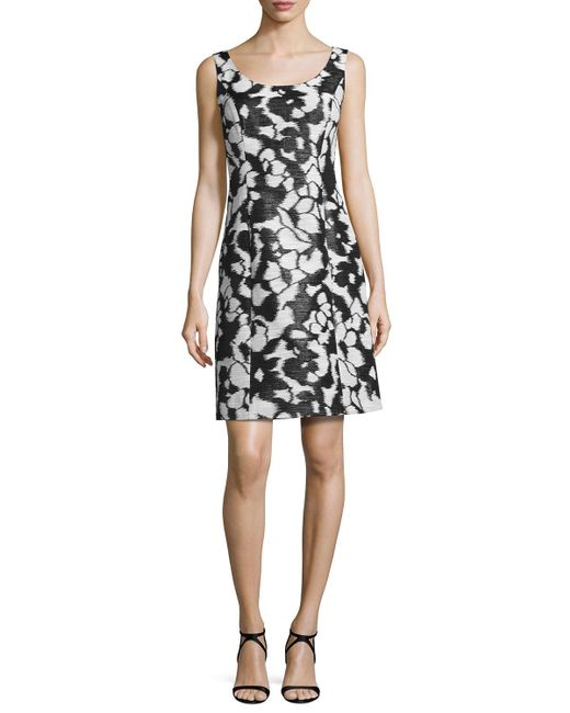 Oscar de la Renta | Black Sleeveless Fil Coupe Shift Dress | Lyst