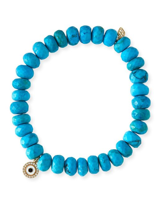 Sydney Evan - Blue 8mm Dark Turquoise Beaded Bracelet W/ 14k Diamond Evil Eye Charm - Lyst